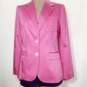 Ralph Lauren Vintage Pink Blazer Monogram Sz 8